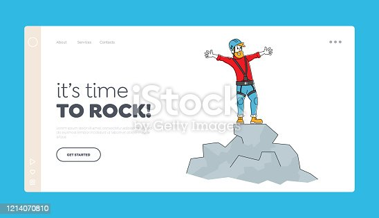 Hiking Active Lifestyle, Trekking in Mountains or Hills Landing Page Template. Happy Man Rock Climber Character in Special Equipment and Helmet Stand on Top of Mountain. Linear Vector Illustration