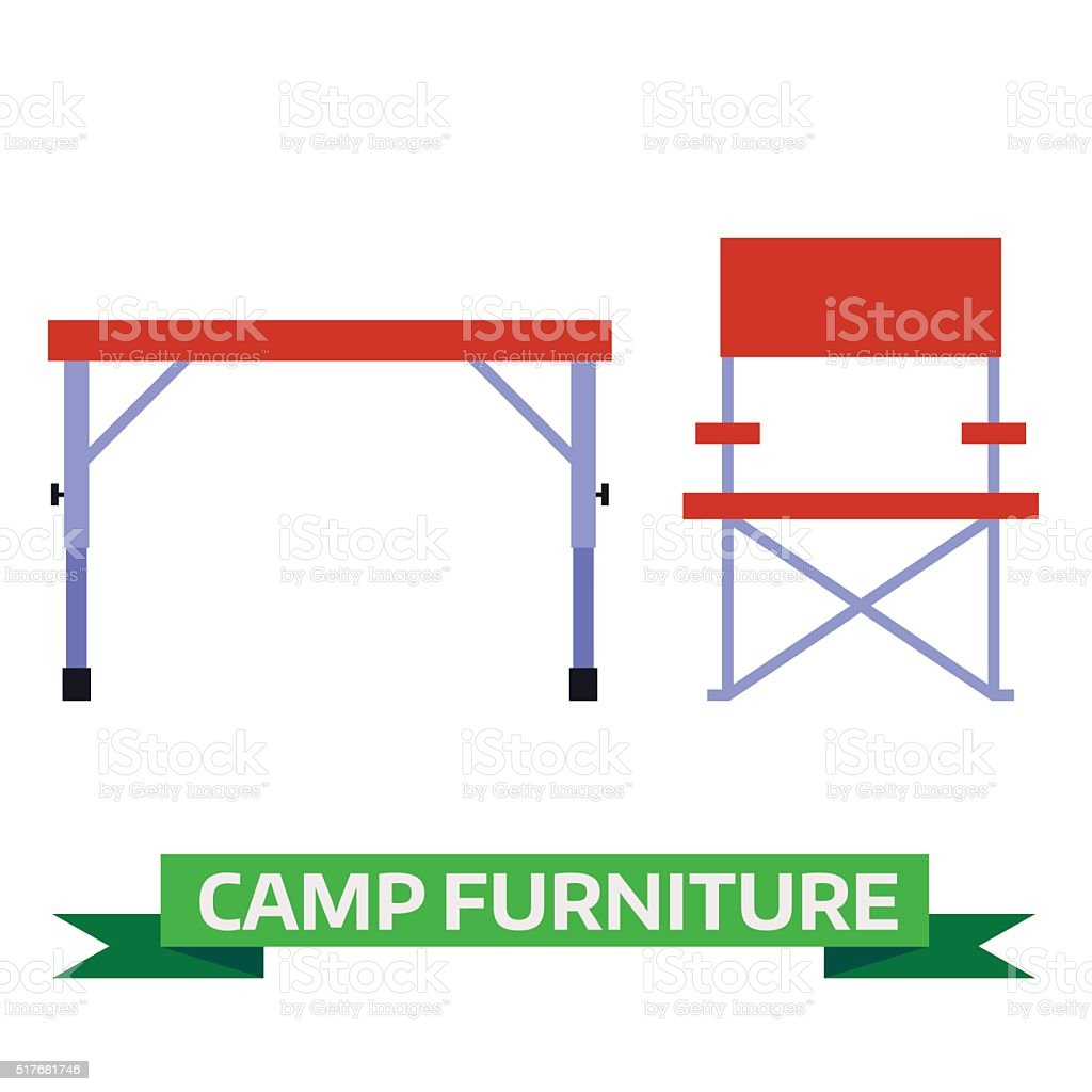 Hiking and Camping Chair and Table Vector Icons vector art illustration