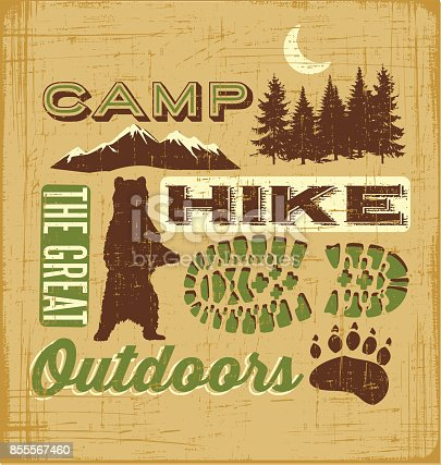 Hiking and Camping Collage for t-shirt design, poster, web banners. The great outdoors. Vector illustration.