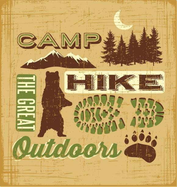 wandern und camping collage für t-shirt-design, poster, web-banner - nationalpark stock-grafiken, -clipart, -cartoons und -symbole