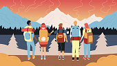 Hiking And Camping Concept. Group Of Tourists With Backpacks And Hike Professional Equipment. Male And Female Characters Stand In A Row Admiring Mountains Landscape. Cartoon Flat Vector Illustration.