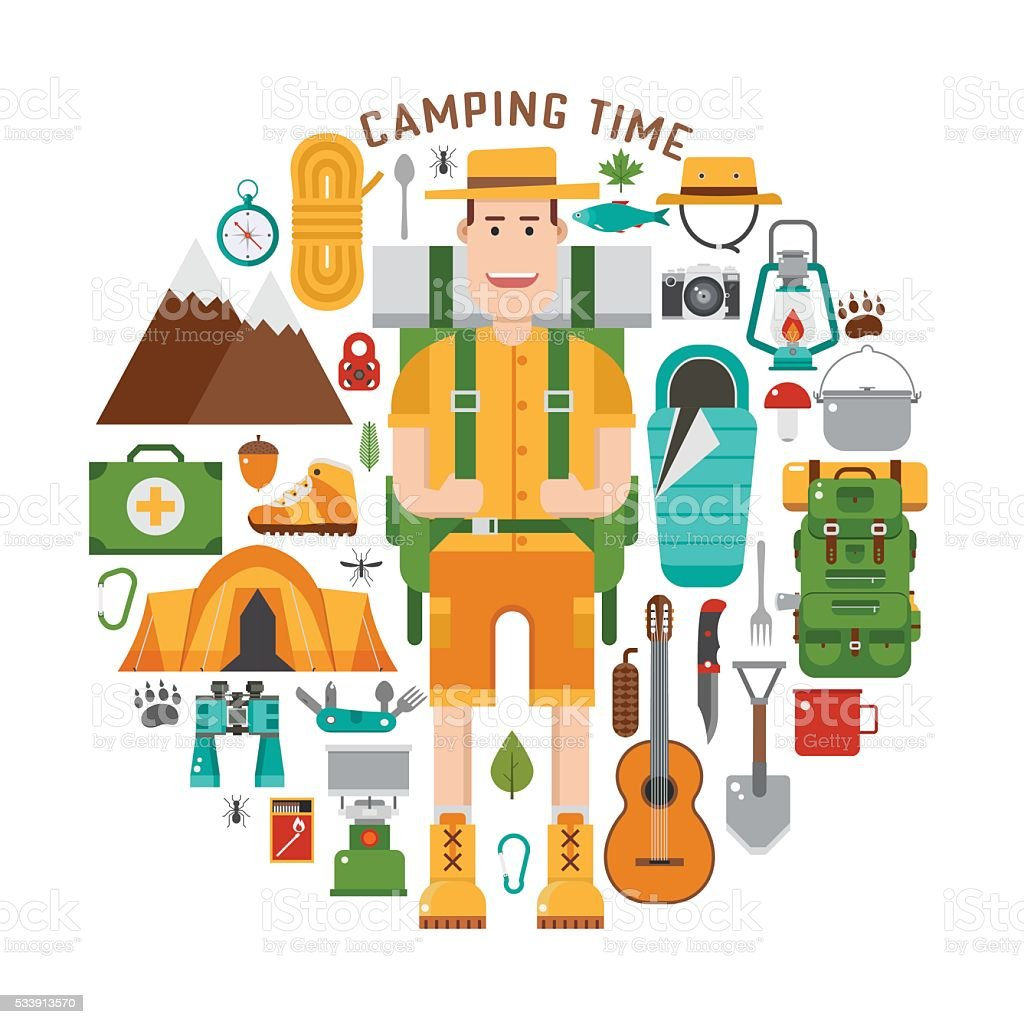 Hiking And Camping Gear Collection Royalty Free Stock Vector Art