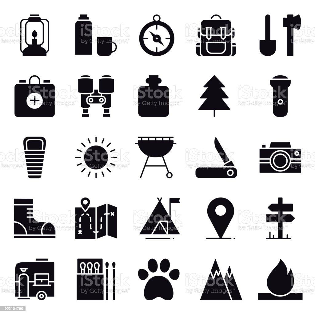 Wandern Und Camping Icons Set Outdoorcamp Zeichen Und Symbol