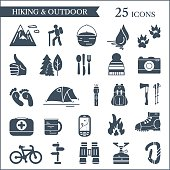Hiking and camping icons.