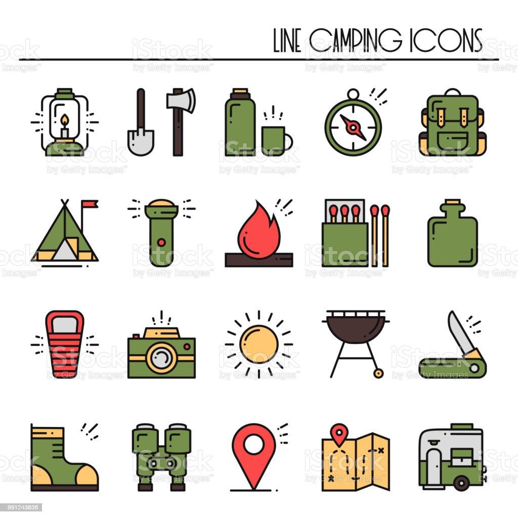 Wandern Und Camping Linie Icons Set Outdoorcamp Zeichen Und Symbol
