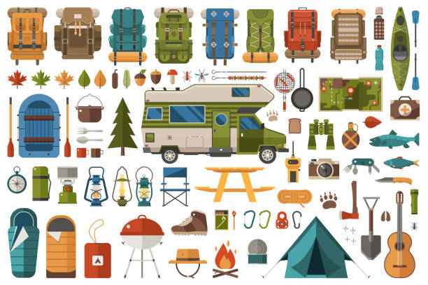 Hiking and Camping Wanderlust Collection vector art illustration