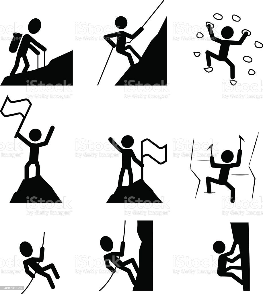 Hiking and climbing icon. vector vector art illustration