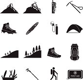 set of Hiking and mountain climbing icon
