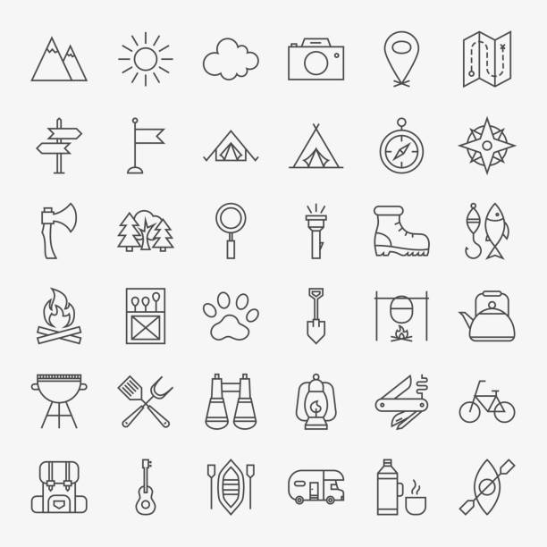bildbanksillustrationer, clip art samt tecknat material och ikoner med hiking and outdoor line icons set - utomhus