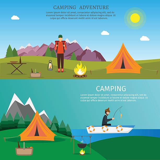 ilustraciones, imágenes clip art, dibujos animados e iconos de stock de hiking and outdoor set flat nature camping travel vector illustration - sparks