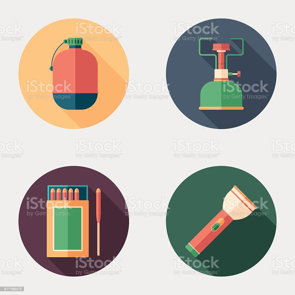 Hiking and survival flat round icon set. vector art illustration