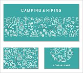 Hiking and travel branding cards collection. Corporate identity templates.