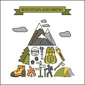 Hiking and travel outdoor concept. Tourism icons in the triangle