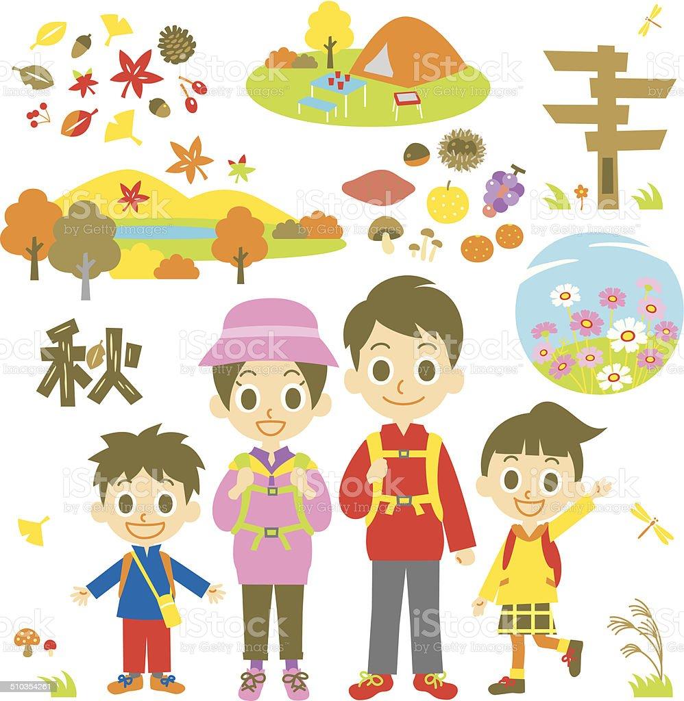 hiking autumn family vector art illustration