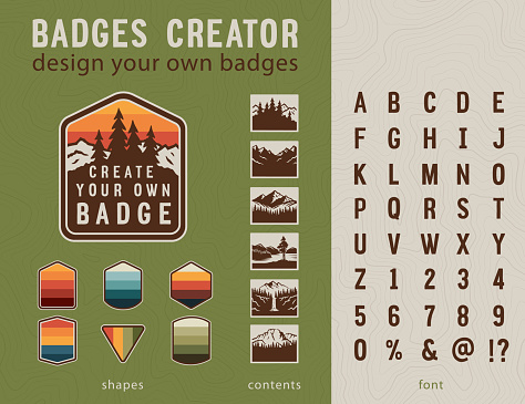 Hiking Badge Creator. Vintage patches elements and styled font. Design your own badges.
