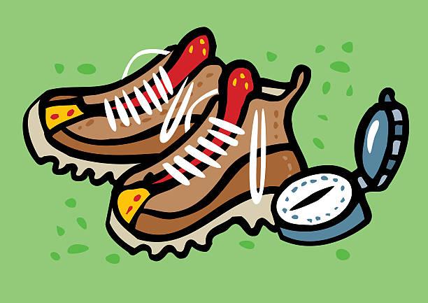 Botas de excursionismo y brújula de excursionismo - ilustración de arte vectorial