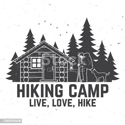 Hiking camp. Live, love, hike. Extreme adventure. Vector illustration. Concept for shirt or print, stamp. Vintage typography design with hiker, dog, forest cabin and forest silhouette on the night