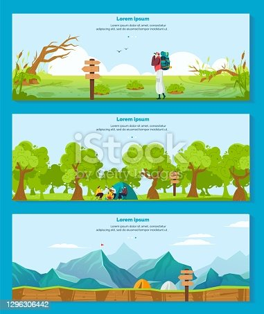 istock Hiking camping adventure vector illustrations, cartoon flat banner collection with hiker tourist character backpacking outdoor 1296306442