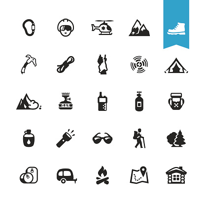 Hiking Camping And Climbing Related Vector Icons Stock