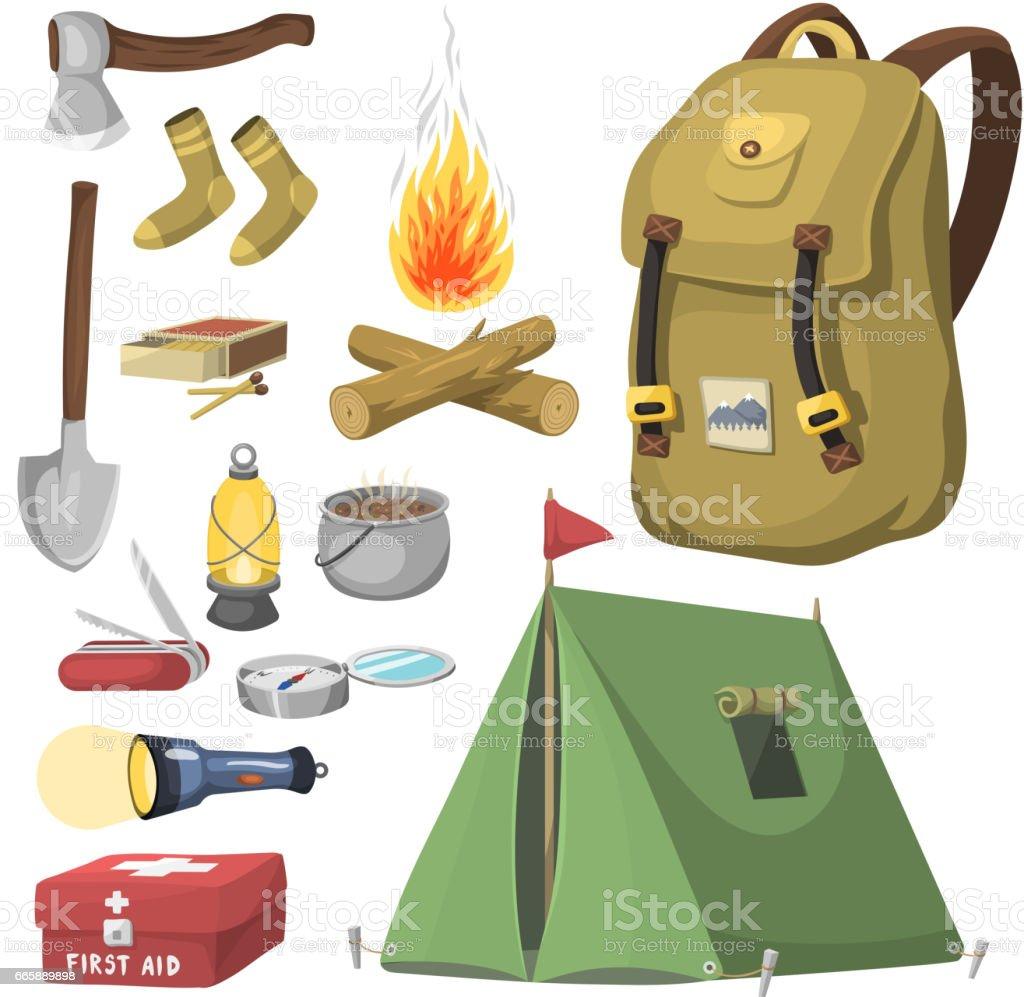 c75ddfef9032f5 Wandern camping Ausrüstung base camp Ausrüstung und Zubehör im freien  Cartoon Reisen Vektor-illustration Lizenzfreies