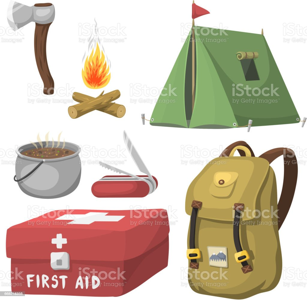 Hiking Camping Equipment Base Camp Gear And Accessories Outdoor Cartoon Travel Vector Illustration Royalty Free