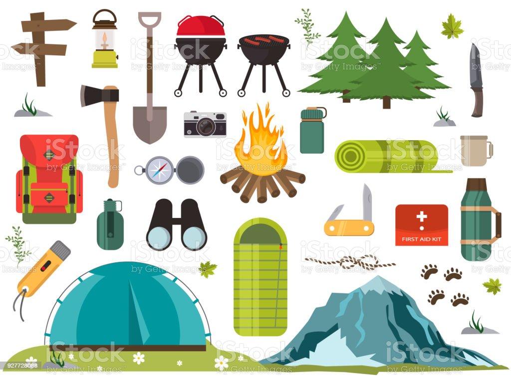 29fb7a6785e40e Wandern camping Ausrüstung Lagerfeuer base camp Ausrüstung und Zubehör  Vektorgrafik. Lizenzfreies wandern camping ausrüstung lagerfeuer