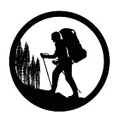 A vector silhouette illustration of a man hiking up a mountain wearing a backpack and using hiking poles.