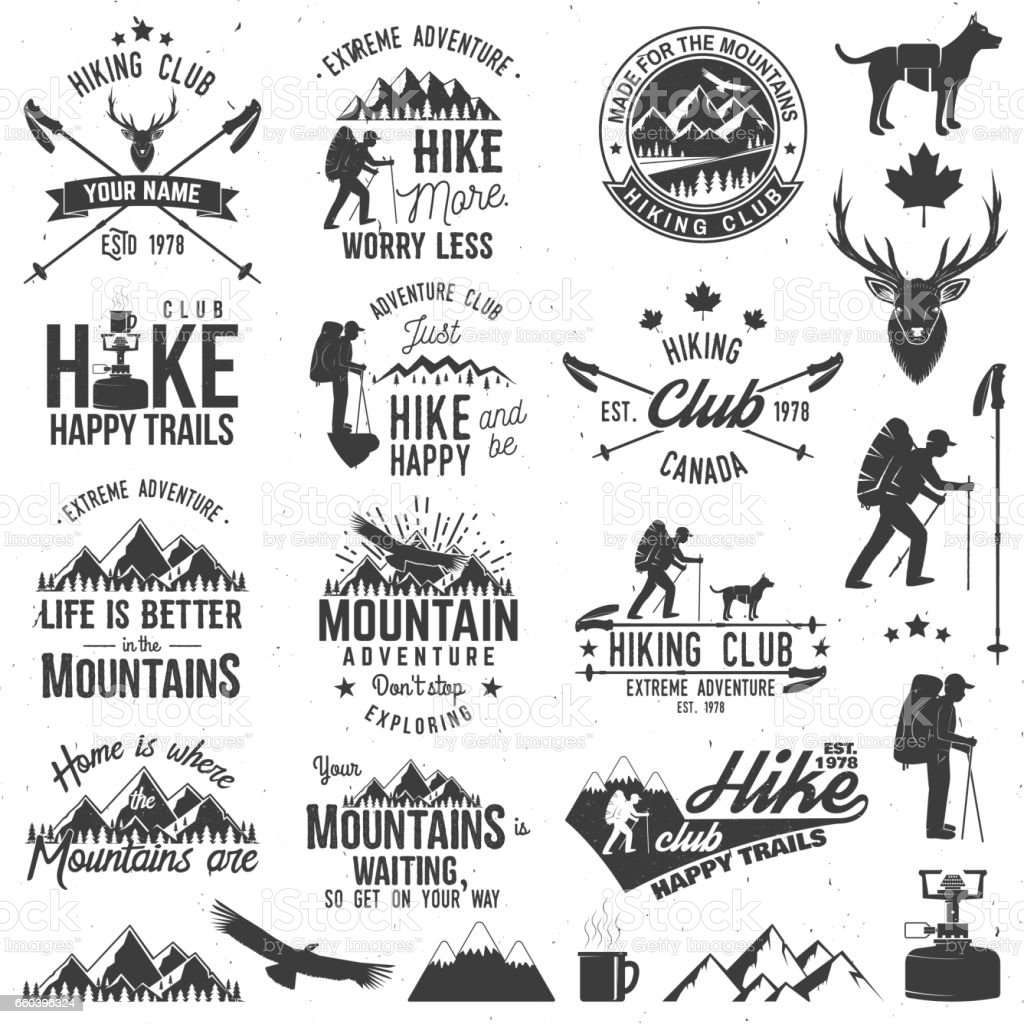 Hiking club badge vector art illustration