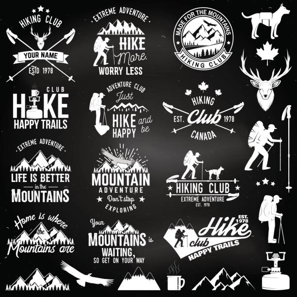 hiking club badge - wildlife travel stock illustrations, clip art, cartoons, & icons