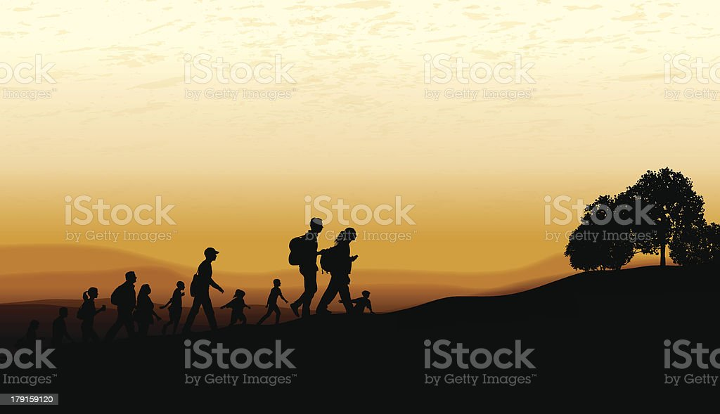 Hiking Club or Group at Twilight royalty-free stock vector art