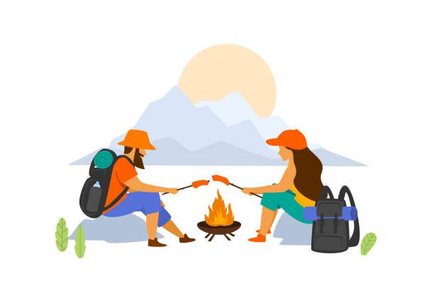 illustrazioni stock, clip art, cartoni animati e icone di tendenza di hiking couple sitting at campfire isolated vector graphic  scene - falò