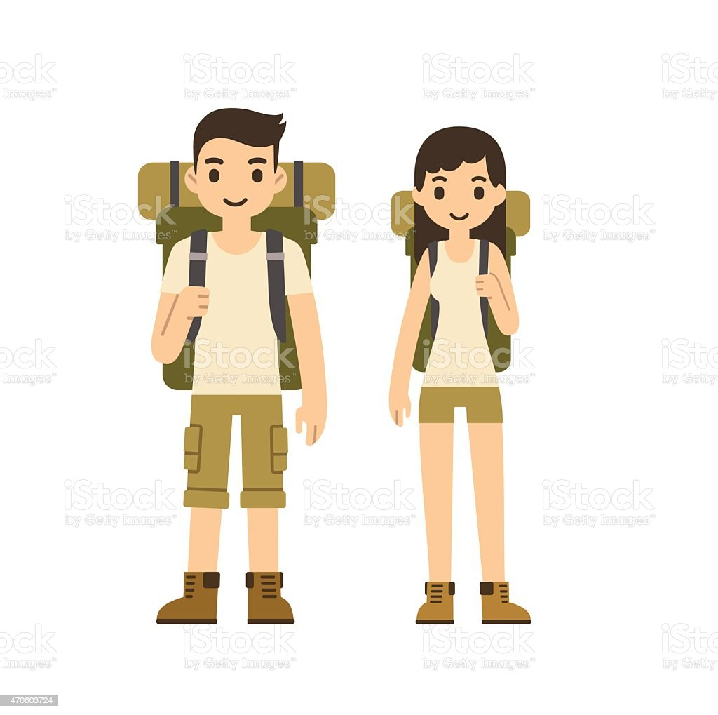Hiking couple vector art illustration