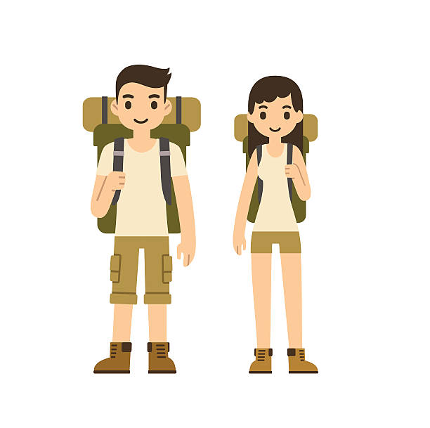 Hiking couple vector art illustration