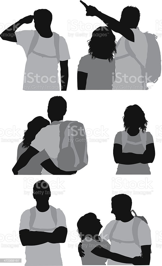 Hiking couple royalty-free stock vector art