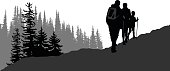 A vector silhouette illustration of a family hiking up a mountain over rough terrain with a forest near by.