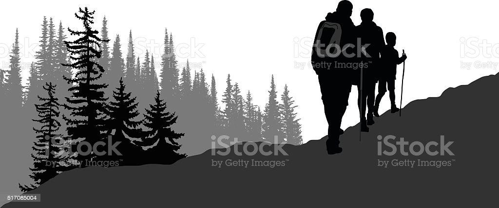 Hiking Family vector art illustration