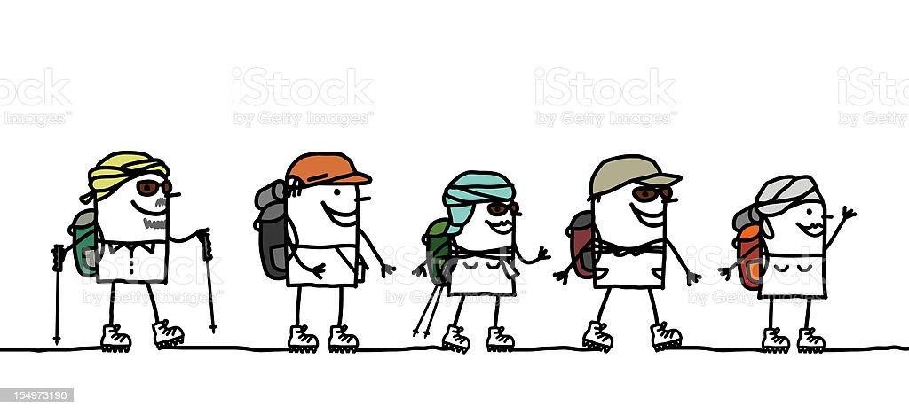 hiking group in the desert royalty-free stock vector art