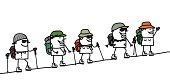 vector hand drawn characters line  - trek & group
