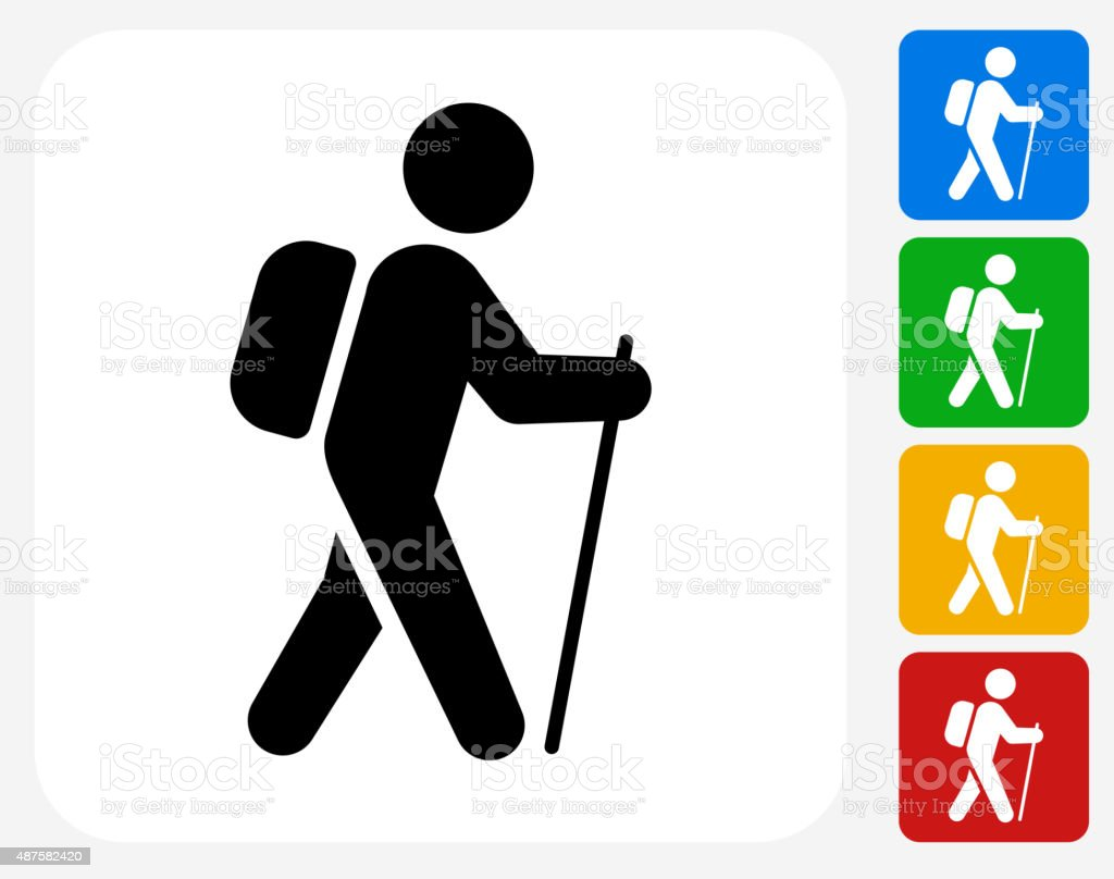 Hiking Icon Flat Graphic Design vector art illustration