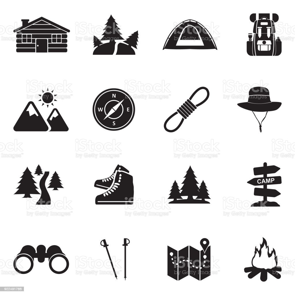 Hiking Icons. Black Flat Design. Vector Illustration.
