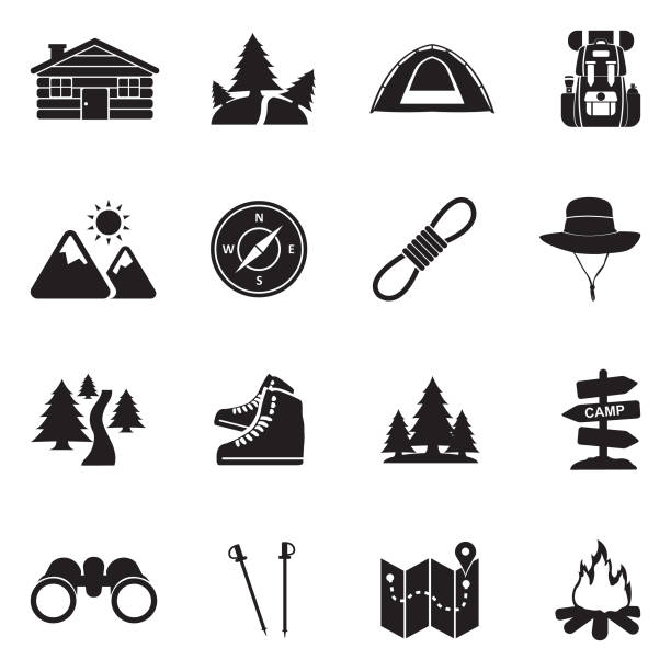 hiking icons. black flat design. vector illustration. - log cabin stock illustrations, clip art, cartoons, & icons