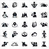 A set of hiking icons. The icons include hikers hiking, GPS devices, nature trails, mountains, backpack, camping, taking pictures of scenery, compass, whistle, viewing scenery with binoculars, hiking boot and summiting a mountain to name a few.