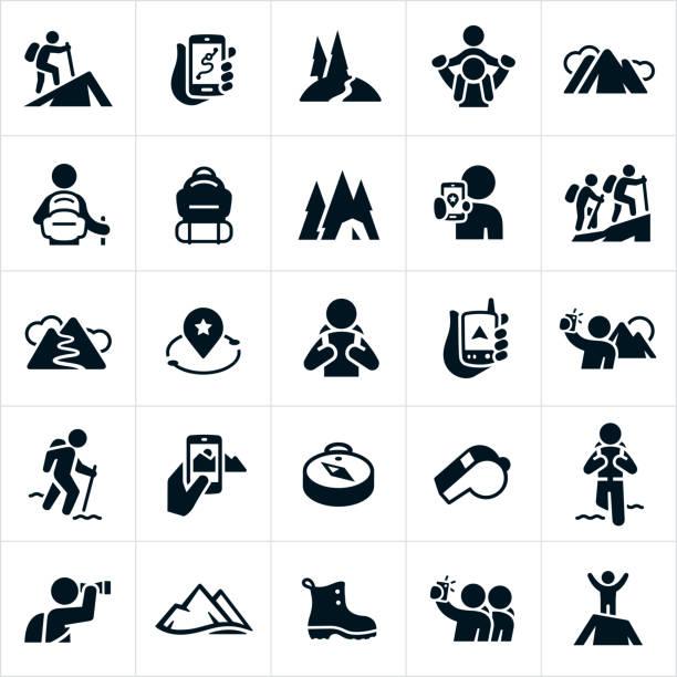 ilustraciones, imágenes clip art, dibujos animados e iconos de stock de senderismo los iconos - excursionismo