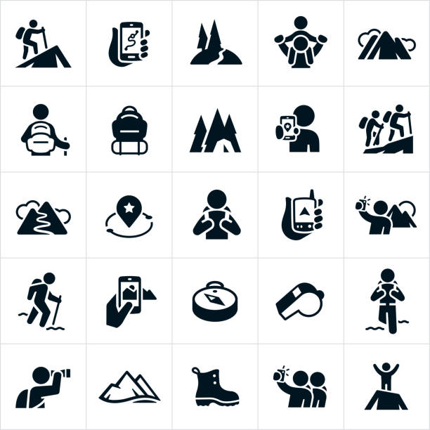 Hiking Icons A set of hiking icons. The icons include hikers hiking, GPS devices, nature trails, mountains, backpack, camping, taking pictures of scenery, compass, whistle, viewing scenery with binoculars, hiking boot and summiting a mountain to name a few. hiking stock illustrations