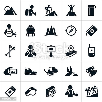 A set of icons representing the recreational outdoor pursuit of hiking. The icons show hikers hiking, mountains, trails, maps, packs, compass, water bottle, camera, GPS, shoes and other gear associated with hiking.