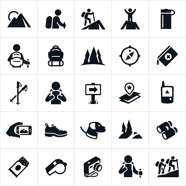 Hiking Icons A set of icons representing the recreational outdoor pursuit of hiking. The icons show hikers hiking, mountains, trails, maps, packs, compass, water bottle, camera, GPS, shoes and other gear associated with hiking. hiking stock illustrations