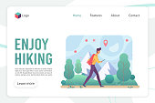 Hiking landing page flat vector template. Backpacking website design layout. Trekking tour and walking tourism in mountains web page cartoon concept. Outdoor activities webpage interface