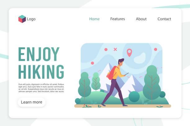 Hiking landing page flat vector template vector art illustration