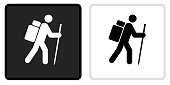 Hiking Man Icon on  Black Button with White Rollover. This vector icon has two  variations. The first one on the left is dark gray with a black border and the second button on the right is white with a light gray border. The buttons are identical in size and will work perfectly as a roll-over combination.
