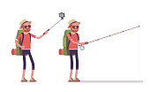 Hiking man taking selfie, fishing. Male tourist with backpacking gear, wearing clothes for outdoor walks, sporting, leisure activity. Vector flat style cartoon illustration isolated, white background